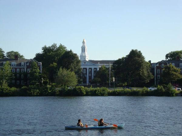 HBS Baker Library from across the Charles River